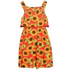 Real Love Big Girls Red Floral Allover Print V-Shaped Back Dress 7-16