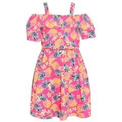 Real Love Little Girls Pink Fruit Allover Print Off-Shoulder Dress 2T-6X