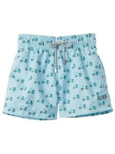 Azul Little Boys Green Scooter Print Drawstring Tie Swimwear Shorts 2-6