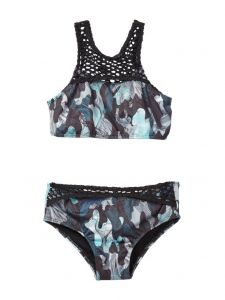 Azul Little Girls Green Black G. I. Jane Bikini 2 Pc Swimsuit 4-6