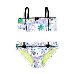 Azul Little Girls Lilac Blue Floral Sassy Does It 2 Pc Bandeau Swimsuit 2-6