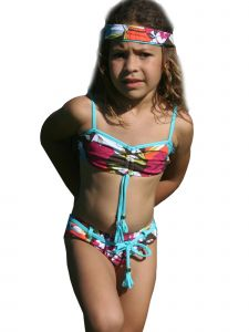 Azul Big Girls Multi Color Survivor Chic Bandeau Bikini 2 Pc Swimsuit 7-8
