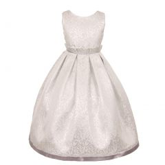 Kids Dream Little Girls Silver Jacquard Sophisticated Occasion Dress 2-6