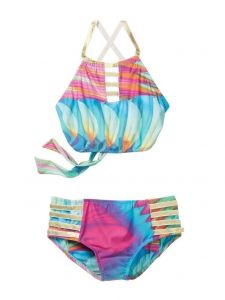 Azul Little Girls Multi Color Good As Gold High Top Bikini 2 Pc Swimsuit 4-6