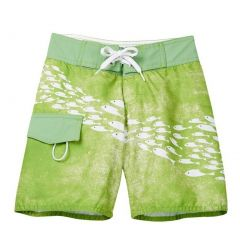Azul Little Boys Green Sea Life Inspired School Of Fish Print Board Shorts 2-6