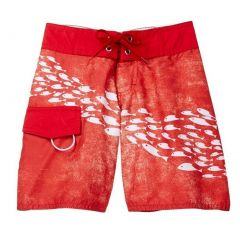 Azul Little Boys Red Sea Life Inspired School Of Fish Print Board Shorts 2-6