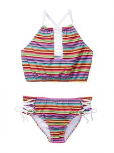 Azul Little Girls Multi Color Stripe Machu Pichu Bandeau 2 Pc Swimsuit 4-6