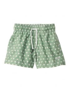 Azul Little Boys Green Palm Spring Print Drawstring Tie Swimwear Shorts 2-6