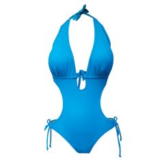 Deep Blue Swim Womens Corona Blue Tie Accent One Piece Monokini Swimsuit XL