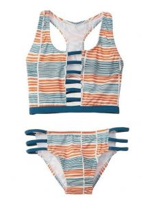 Azul Big Girls Orange Stripe Running Lines Sport 2 Pc Bikini Swimsuit 7-16