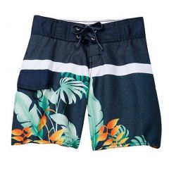 Azul Big Boys Grey Second Nature Print Drawstring Tie Swimwear Shorts 8-14