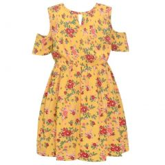 Little Girls Yellow Floral Cold-Shoulder Short Sleeve Knee-Length Dress 4-6X