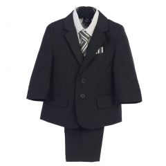 Baby Boys Dark Gray Jacket Vest Pocket Square Tie Shirt Pant 5 Pc Suit 6-24M
