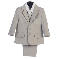 Boys Light Gray Jacket Vest  Pocket Square Tie Shirt Pant 5 Pc Suit 2T-7