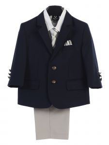 Lito Boys Navy 2 Button Jacket Zipper Tie Shirt Pants 4 Pc Suit 2T-12