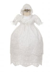 Rain Kids Baby Girls White Puff Sleeve Bonnet 3 Pc Baptism Gown Set 6-12M