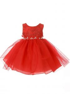 Baby Girls Red Lace Sequin Embroidered Stone Tulle Flower Girl Dress 6-24M
