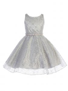 Big Girls Silver Floral Lace Rhinestone Accent Special Occasion Dress 8-16