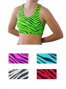 Pizzazz Girls Multi Color Zebra Glitter Sports Bra Youth 2-16