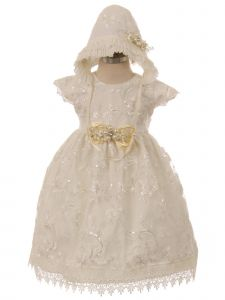 Rainkids Baby Girls Ivory Floral Embroidered Bonnet Baptism Gown 6-12M