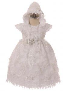 Rainkids Baby Girls White Floral Embroidered Bonnet Baptism Gown 6-12M