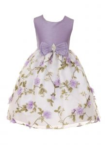 Crayon Kids Big Girls Lilac Floral Print Bow Junior Bridesmaid Dress 8-14