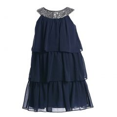 Sweet Kids Little Girls Navy Sequined Neck Tiered Flower Girl Dress 2T-6