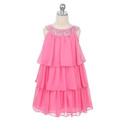 Sweet Kids Toddler Little Girl Pink Tiered Sequined Party Dress 2T-12