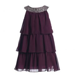 Sweet Kids Big Girls Plum Sequined Neck Tiered Junior Bridesmaid Dress 7-16