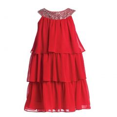 Sweet Kids Big Girls Red Sequined Neck Tiered Junior Bridesmaid Dress 7-16