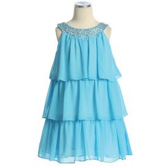 Sweet Kids Toddler Little Girl Aqua Tiered Sequined Party Dress 2T-12