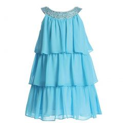 Sweet Kids Little Girls Turquoise Sequined Neck Tiered Flower Girl Dress 2T-6