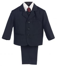 Little Boys Navy Pin-Striped Jacket Vest Necktie Shirt Pant 5 Pc Suit 7