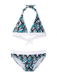 Azul Little Girls Aqua Turquoise Cloud 9 Halter Top 2 Pc Bikini Swimsuit 4-6