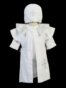 Baby Boys White Sotana Priest's Cassock Pope Style Christening Outfit 6-24M