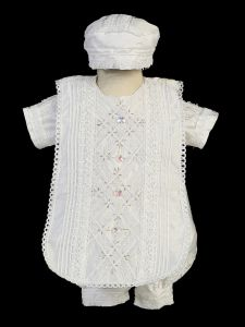 Baby Boys White Romper Hat Diamond Panel Estola Christening Outfit 3-24M