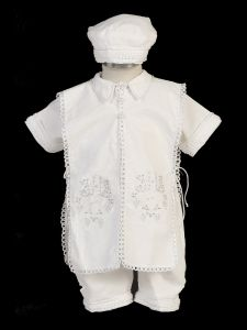 Baby Boys White Suspenders Stole Hat Linen Christening Baptism Outfit 3-24M