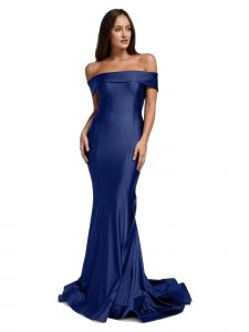 Amelia Couture Womens Navy Bodycon Off Shoulder Mermaid Dress 2-16