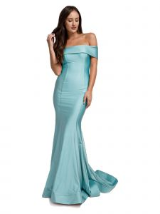 Amelia Couture Womens Blue Bodycon Off Shoulder Mermaid Dress 2-14