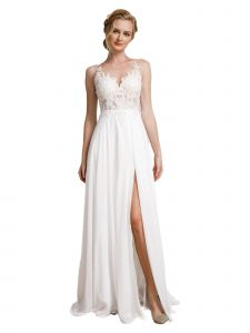 Amelia Couture Womens White Bridal A-Line Dress with Slit and Mesh Neckline 2-16