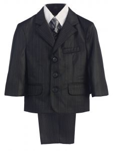 Big Boys Dark Grey Pin-Striped Jacket Vest Shirt Pant Tie Suit 8-14