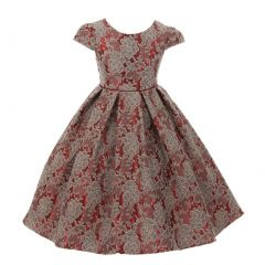 Kids Dream Little Girls Red Grey Chantilly Jacquard Pleated Occasion Dress 2-6