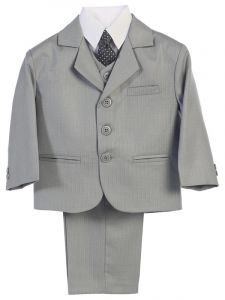 Little Boys Light Grey Jacket Vest Necktie Shirt Pants 5 Pc Suit 2-7
