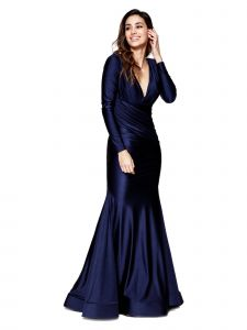 Amelia Couture Womens Navy Bodycon Long Sleeve Plunge Neckline Dress 2-18