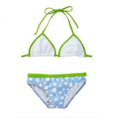 Azul Big Girls Blue Green Triangle Dippin' Dots 2 Pc Bikini Swimsuit 7-14