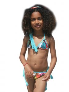 Azul Big Girls Multi Color Survivor Chic Triangle Bikini 2 Pc Swimsuit 8