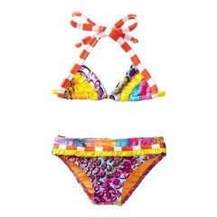 Azul Little Girls Orange In The Mix Triangle Top 2 Pc Bikini Swimsuit 4-6
