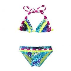 Azul Little Girls Turquoise In The Mix Triangle Top 2 Pc Bikini Swimsuit 4-6