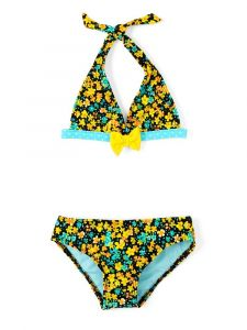 Azul Girls Turquoise Prairie Girl Bow Triangle Bikini 2 Pc Swimsuit 4-8