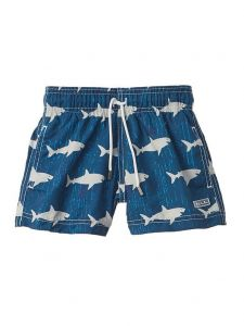Azul Little Boys Navy Swim Faster Fish Drawstring Tie Swimwear Shorts 2-6